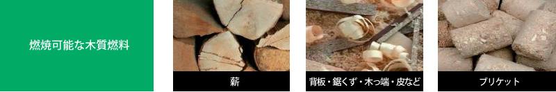 燃焼可能な木質燃料 薪 背板・鋸くず・木っ端・皮など ブリケット
